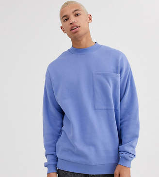 Asos Design DESIGN Tall oversized sweatshirt with large chest pocket-Purple