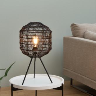 Invicta 57cm Black Cage Woven Paper and Metal Table Lamp - Woven Paper   metal   black - Black/Black