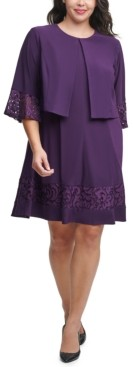 Jessica Howard Plus Size Lace-Trim Dress & Bell-Sleeve Jacket