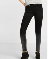 Express mid rise ombre raw hem ankle jean legging