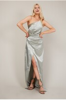 Thumbnail for your product : Little Mistress Lola Sage Satin One-Shoulder Maxi Dress