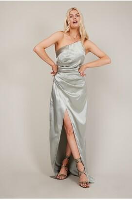 Little Mistress Lola Sage Satin One-Shoulder Maxi Dress