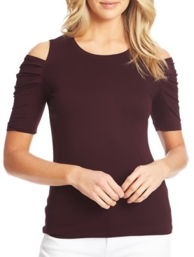 1 STATE Ruched-Sleeve Cold-Shoulder Top