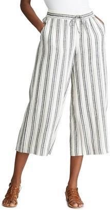 Chaps Women's Striped Wide-Leg Crop Pants