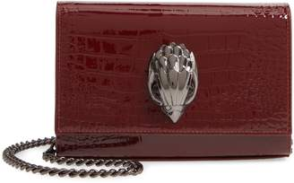 Kurt Geiger London Small Shoreditch Croc Embossed Patent Leather Clutch