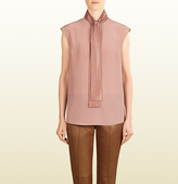 Gucci Silk Top With Leather Ascot Tie