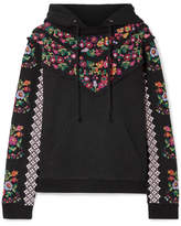 Needle & Thread Embellished Broderie Anglaise-trimmed Jacquard Cotton-blend Hooded Top - Black