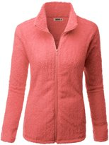 Doublju Womens Day-to-Night Plush 3/4 Sleeve Big Size Fleece Outwear ROYALBLUE,2XL