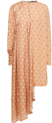 Mother of Pearl Asymmetric Polka-dot Hammered-satin And Crepe Dress