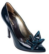 Roberto Cavalli Womens Teal Patent Leather Bow Pumps.
