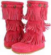Girls Pink Fringe Boots - ShopStyle
