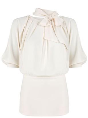 Klaudia Karamandi Violeta Creme Slim-Fit Blouse With Bow