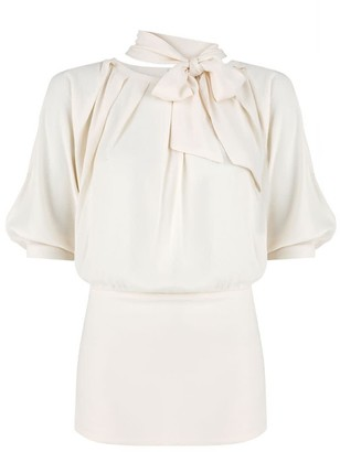 Klaudia Karamandi Violeta Creme Slim-Fit Blouse With Detachable Bow