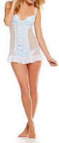 Cinema Etoile Point d'Espirit Mesh Push-Up Cup Babydoll Set