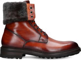 Magnanni Shearling trim burnished leather boots