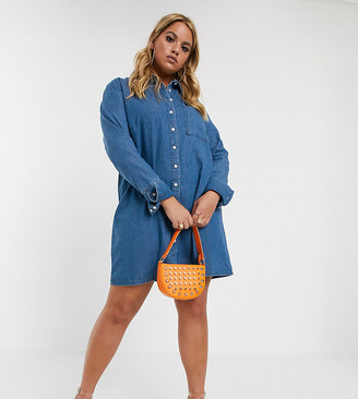 Asos DESIGN Curve denim shirt dress in blue