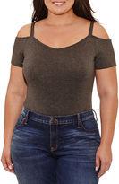 Boutique + + Short Sleeve Off the Shoulder Bodysuit-Plus