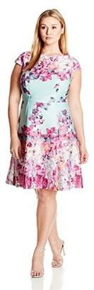 Adrianna Papell Women's Plus-Size Cut Away Fit-and-Flare Dress