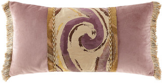 Dian Austin Couture Home Wisteria Scroll Oblong Pillow with Brush Fringe