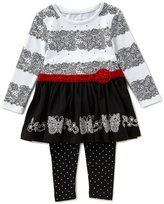 Flapdoodles Little Girls 2T-6X Butterfly Lace/Solid Drop-Waist Dress & Dotted Leggings Set