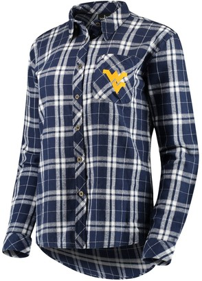 Women's Navy West Virginia Mountaineers Essential Flannel Button-Down Long Sleeve Shirt