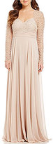 Terani Couture Beaded Chiffon Bodice Long Sleeve Gown
