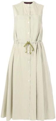 Martin Grant Stripe-Print Drawstring Sleeveless Midi Dress
