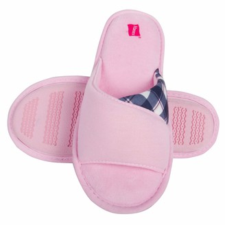 Hanes Womens Open Toe Contrast Plaid Slide Slipper with Memory Foam and Anti-Skid Sole (Size Large