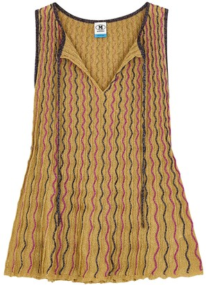 M Missoni Gold embroidered metallic-knit top