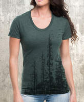 Etsy Women's T-Shirt - Pine Tree Forest - Screen Printed American Apparel Women's Tri-Blend T-Shirt