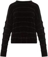 Sara Lanzi Jacquard-striped Ribbed Chenille Sweater - Womens - Black