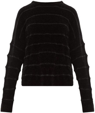 Sara Lanzi Jacquard Striped Ribbed Chenille Sweater - Womens - Black