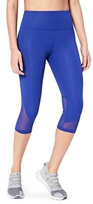 Core 10 Women's High Waisted Mesh Capri Running Leggings, Blue (), Large