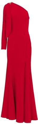 Marchesa Notte One-shoulder embellished cady gown