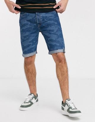 Levi's 501 Original cut off denim shorts in knoxville tonal camo wash-Blue