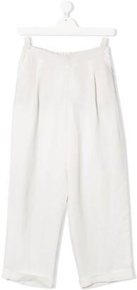 BRUNELLO CUCINELLI KIDS TEEN wide-leg cotton trousers