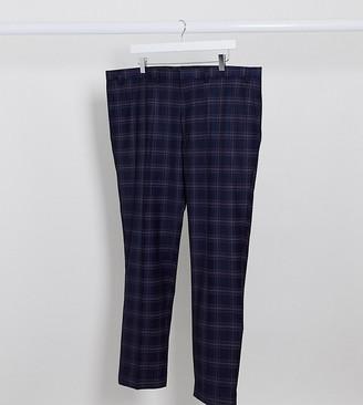 Burton Menswear Big & Tall skinny suit pants in navy tartan