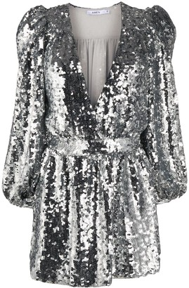 Amen sequinned V-neck dress