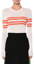 MSGM Horizontal-Stripe Ribbed Sweater, White