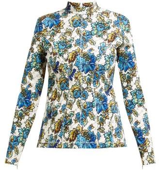 Stella McCartney Floral And Logo-print Top - Womens - Blue Multi