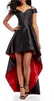 B. Darlin Off-The-Shoulder Long High-Low Dress