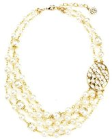 Ben-Amun Lattice Pearls Multi Layers Necklace with Oval Pendant