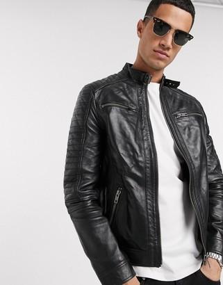 Barneys New York Barneys Originals real leather 4 pocket biker jacket