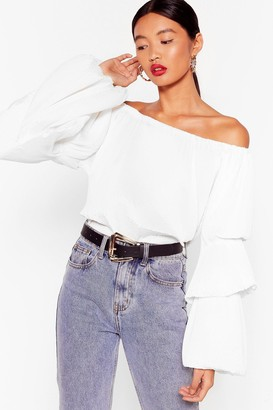 Nasty Gal Womens The Pleat of Love Off-the-Shoulder Blouse - White - 4