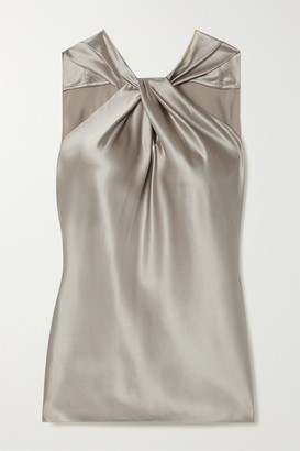 Theory Twist-front Silk-blend Satin Top - Silver