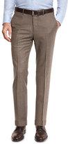 Ermenegildo Zegna Flannel Flat-Front Trousers, Tan