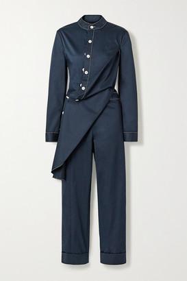Monse Draped Cotton-blend Twill Jumpsuit - Midnight blue