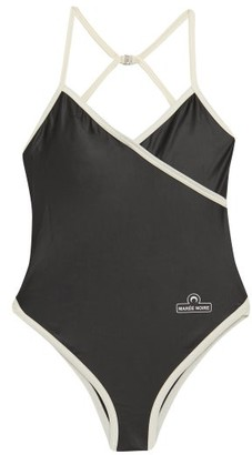 Marine Serre Logo-print Swimsuit - Black
