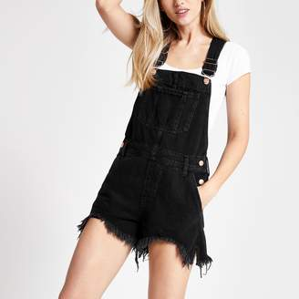 River Island Womens Black short denim dungarees