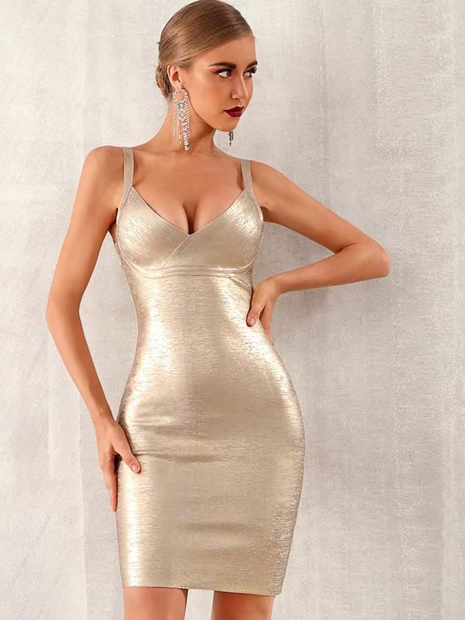 Shein Adyce Zip Back Metallic Cami Bandage Dress
